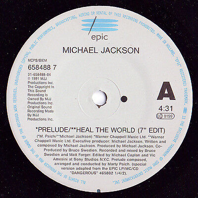Michael Jackson ‎– Heal The World Epic ‎– 658488 7 Vinyl Record Single Pop Rock