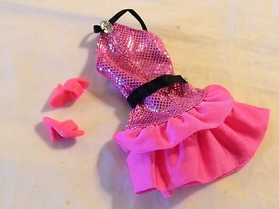 Barbie Doll Size Dark Pink Short Fitted Dress Bodice + Shoes