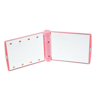 LED Pocket makeup mirror foldable with lights cosmetic - Pink 05CF