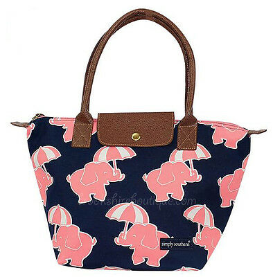 SIMPLY SOUTHERN PINK ELEPHANTS BUCKET TOTE or PREPPY HANDBAG PURSE FAUX LEATHER