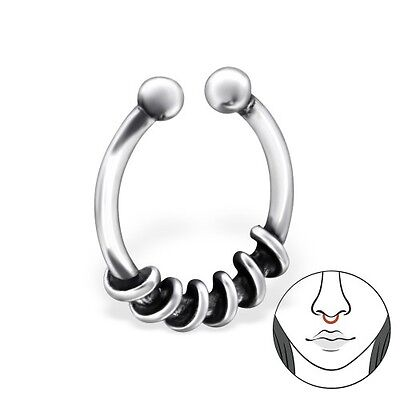 925 Sterling Silver Fake Septum Nose Ring Clip On Hanger - No Piercing Needed