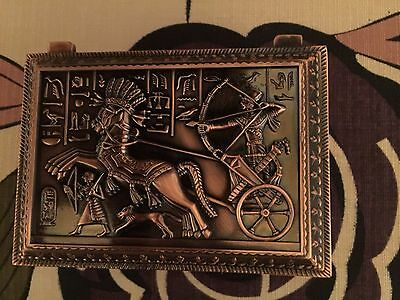 Unique  Egyptian Copper Wash Pewter Jewelry Box   Mad in Egypt