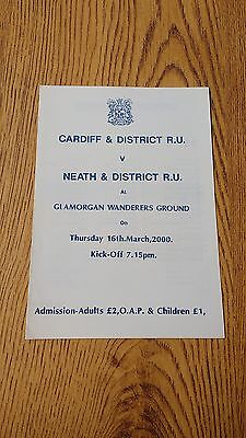 Cardiff & District v Neath & District 2000 Rugby Programme
