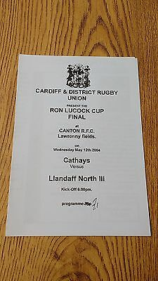 Cathays v Llandaff North III 2004 Ron Lucock Cup Final Rugby Programme