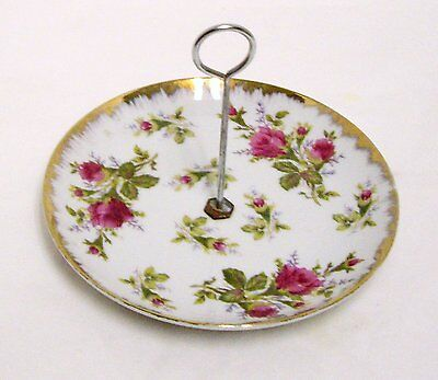 Vintage Napco Pink Roses Tidbit Canape Tray Handled Serving Dish MD204 Japan