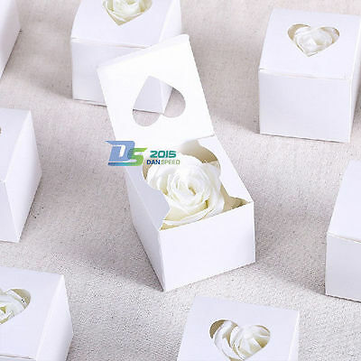 White Love Heart Wedding Party Candy Chocolate Cake Boxes Gift Sweets Favor Bags
