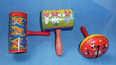 Group of 3 Vintage Metal Noise Makers