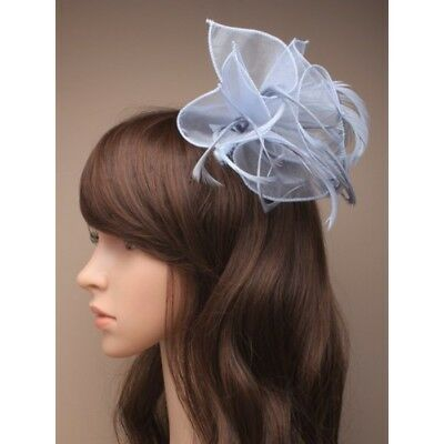 Grey Fascinator on Headband/ Clip-in for Weddings, Races and Occasions-8762