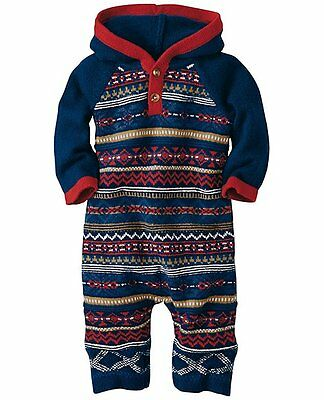 NWT HANNA ANDERSSON Baby Boy Fair Isle Hoodie Sweater Romper Nordic Outfit