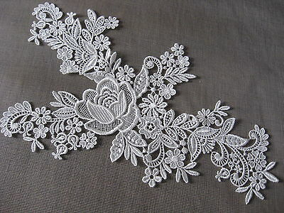 3 Prs Lovely Ivory Bridal Floral Rayon Venise Collar Applique
