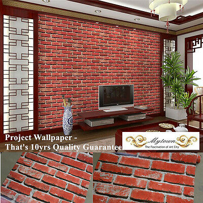3D Print Industrial Wallpaper Roll Rustic Red Brick Stone Rock Resturant Cafe