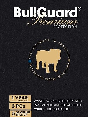 BullGuard 2017 Premium Protection Internet Security 3 Users 1 Year - Actual Item