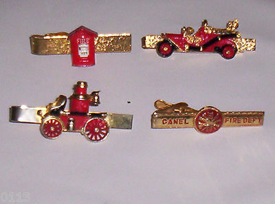 4 Firefighter Gold w Red Enamel Tie Bar Clasp Pump Engines Firebox Canel FD