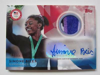 2016 Topps Olympic Simone Biles Autograph Patch 01/50 First Number