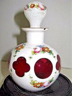 Antique Bohemian Cranberry, or Ruby case glass scent bottle with hand painting