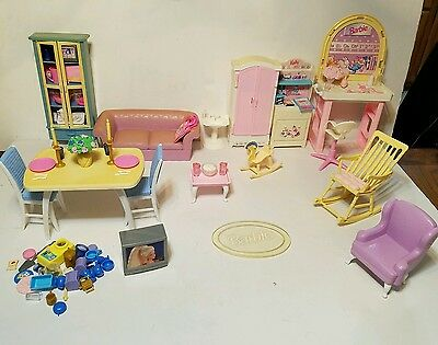 Mixed Lot of 90's Barbie Doll Furniture and Accessories 109 Pieces!
