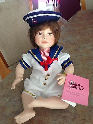 Paradise Galleries Porcelain Doll with Sailor Suit w/ Tags Plays Music
