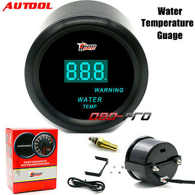 "2"" 52mm Black Car Motor Digital Blue LED Water Temp Temperature Gauges Sensor"