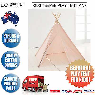 Kids Teepee Indoor Outdoor Tent Girls Pink Wood Frame Cotton Blend Childrens New