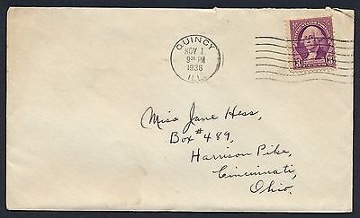 UNITED STATES OF AMERICA 1936 OLD COVER #a365 QUINCY CANCEL!