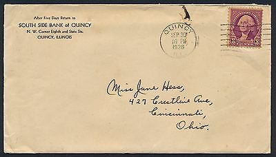 UNITED STATES OF AMERICA 1936 OLD COVER #a364 QUINCY CANCEL!