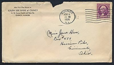 UNITED STATES OF AMERICA 1936 OLD COVER #a376 QUINCY CANCEL!