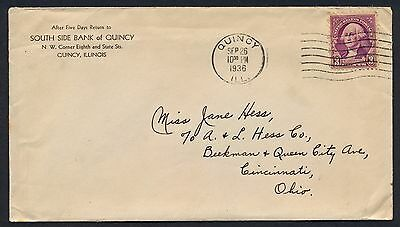 UNITED STATES OF AMERICA 1936 OLD COVER #a374 QUINCY CANCEL!