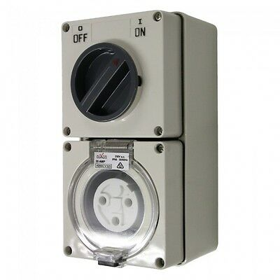 3PIN 20AMP - Combination Switched Socket Outlet - ROUND PINS
