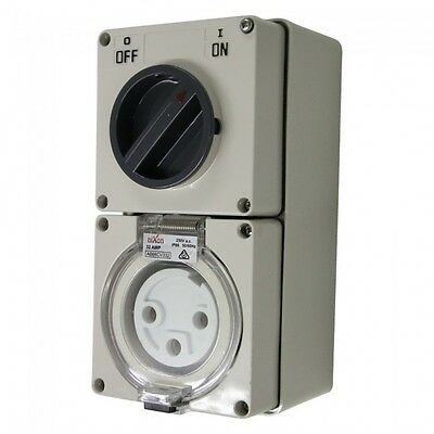 3PIN 32AMP - Combination Switched Socket Outlet - ROUND PINS