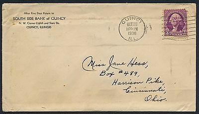 UNITED STATES OF AMERICA 1936 OLD COVER #a383 QUINCY CANCEL!