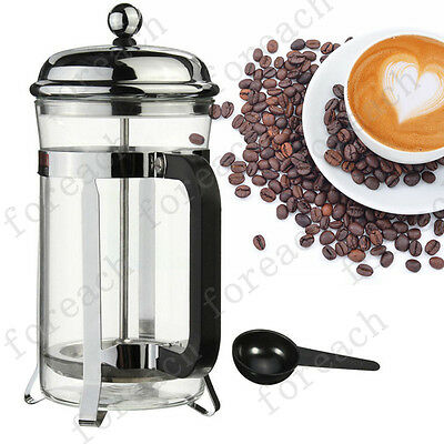 French Plunger Press Tea Maker Filter Glass Coffee Cup Stainless Steel 600ml