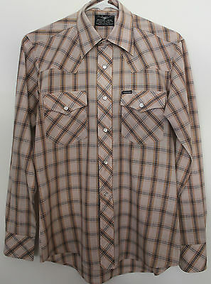 VINTAGE 1970'S ~ Tan & Brown Check Plaid Rockabilly Western Shirt w Snaps ~ 37 M