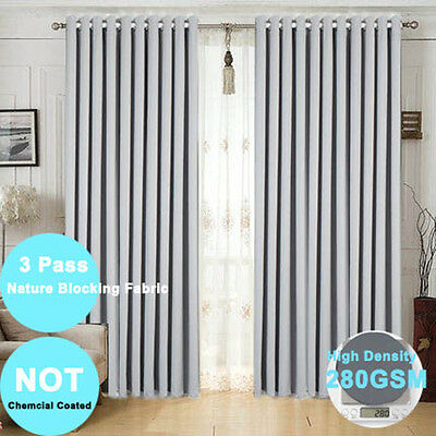 2X140x230 100% Blockout Curtains Eyelet Ring Top Blackout Curtain Ready Made