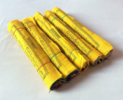 Set of 5 Roll Fine Cotton Tibetan Prayer Hanging Vertical Flags - (TPF02C)