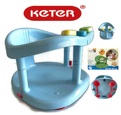 KETER Infant Baby Bath Tub Ring Safety Seat Anti slip Plastic Chair Blue