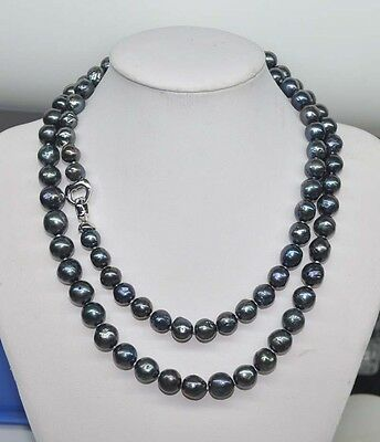 Very beautiful Peacock black 8-10 mm  kasumi pearl 33''necklace