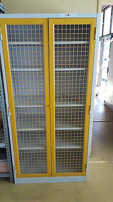 Steel Cabinet 2 MESH DOOR Cupboard Stationery  GARAGE STORAGE FILING LOCKER