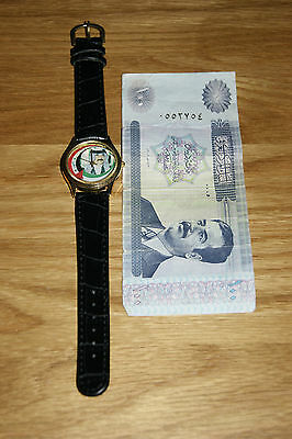Stunning Vintage Rare Saddam Hussein Brand New Watch With 100 Dinar Note