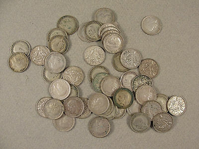 Approx 50 500 Silver THREEPENCE PIECES. c1920 - 1940's