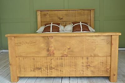HADDON Rustic Chunky Capped 4ft Small Double Solid Plank Bed High Foot End