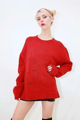 Vtg ICEBERG HISTORY Rare DISNEY Red MICKEY MOUSE Wool Knit Sweater Pullover L