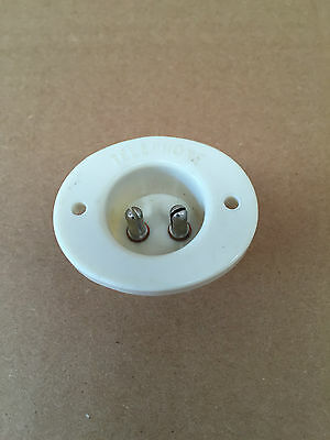 Vintage 2 Pin Telephone Socket in White - Please See Pictures