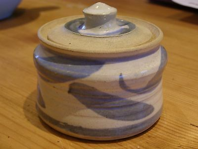 Studio pottery lidded pot- sugar bowl- blue & stone colour