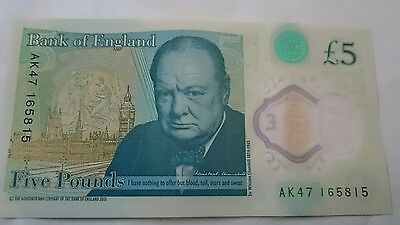 New English £5 note Serial Number AK47