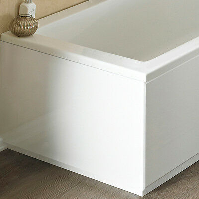 White High Gloss 2 Piece End Bath Panel & Plinth 700mm 70cm Adjustable MDF