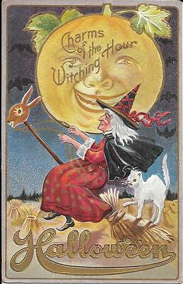 Antique Postcard Halloween Early 1900's Witch