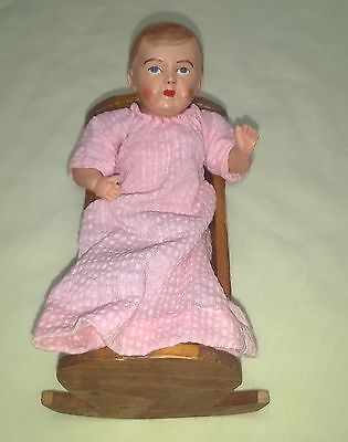 """Antique Celluloid Jointed Baby Doll W/ Wooden Cradle 5 1/2"""" Nr $14.44"""