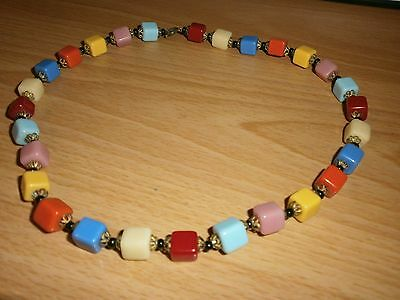 Vintage Multicoloured Glass Cube Necklace 1930-1950s - 16ins