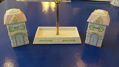 Lenox Village Collection porcelain salt and pepper shakers w/ tray