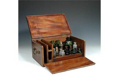 Superb 19thC Mahogany Apothecary Pharmacist Drop Front Cabinet & Glass Bottles